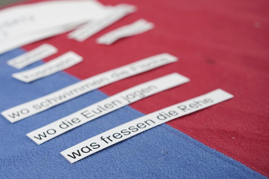 Auf einem blau-roten Tuch liegen Papierstreifen, die mit Text bedruckt sind.